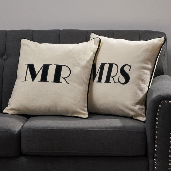Modern Fabric MR and MRS Throw Pillows (Set of 2) - NH395113