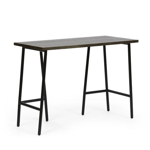 Modern Industrial Handcrafted Mango Wood Desk, Brown and Black - NH524413