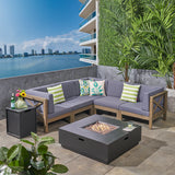 Outdoor Acacia Wood 5 Seater Sectional Sofa Set with Fire Pit - NH727603