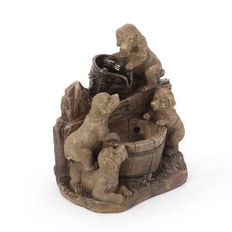 Outdoor Puppy Fountain, Light Brown - NH873413