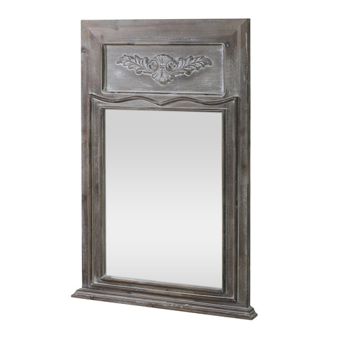 Traditional Acacia Wood Wall Mirror, White Washed Gray - NH303413