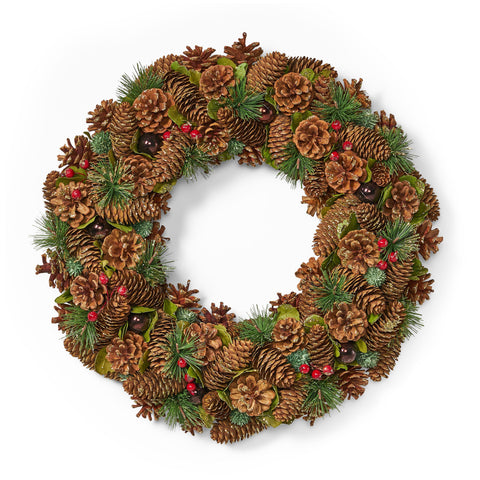 "18.5"" Pine Cone and Glitter Unlit Artificial Christmas Wreath - NH366313"