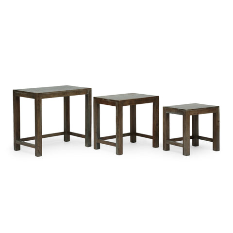 Handcrafted Rustic Acacia Wood Nested Tables (Set of 3), Gray - NH255413