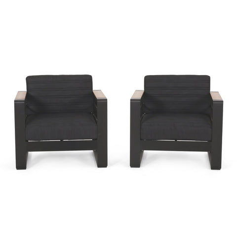 Outdoor Aluminum Club Chairs with Water Resistant Cushions, Set of 2, Dark Gray, Natural, and Black - NH554413
