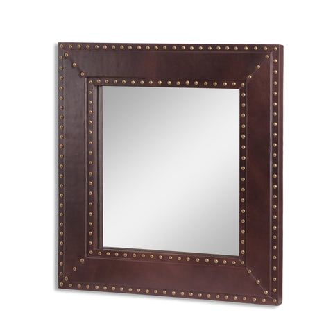 Handcrafted Boho Studded Leather Square Wall Mirror - NH290413