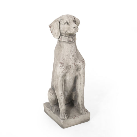 Outdoor Dog Garden Statue, Antique White - NH263413
