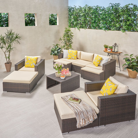 Outdoor 5 Seater Wicker Sofa Chat Set with Ottomans - NH179903