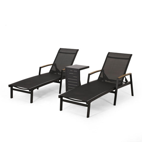 Outdoor Aluminum Chaise Lounge Set with C-Shaped End Table - NH725313