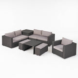 Outdoor 5 Seater V Shaped Wicker Storage Sectional Sofa Set with Ottomans - NH969903