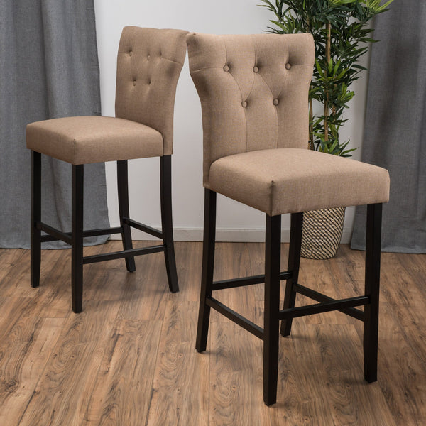 25-Inch Mocha Brown Fabric Counter Stool (Set of 2) - NH546692