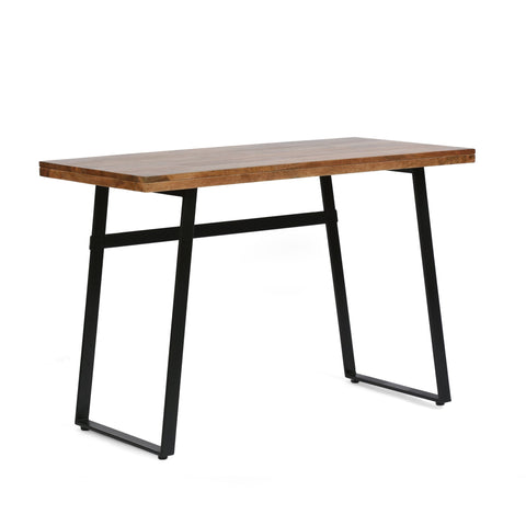 Modern Industrial Handcrafted Acacia Wood Desk, Natural and Black - NH464413