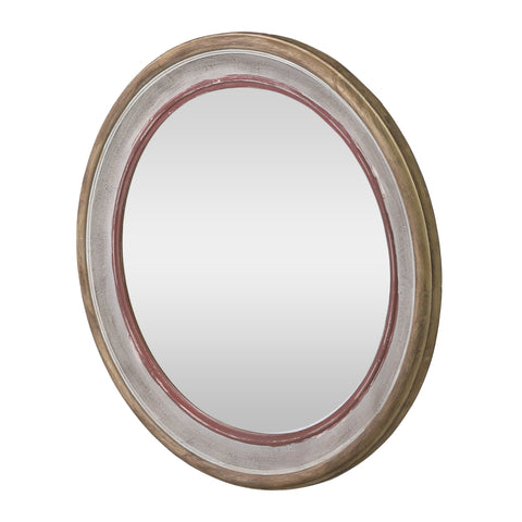 Boho Wood Round Mirror, White Washed and Red - NH603413