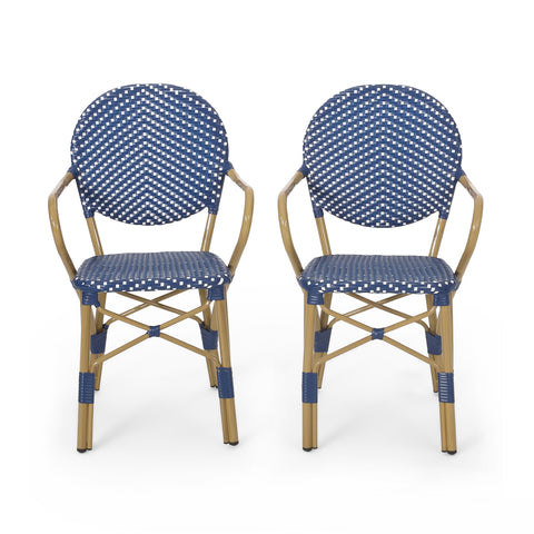 Outdoor Aluminum French Bistro Chairs, Set of 2, Dark Teal, White, and Bamboo Finish - NH144413
