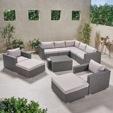 Outdoor 7 Seater V Shaped Wicker Sectional Sofa Chat Set with Ottomans - NH579903