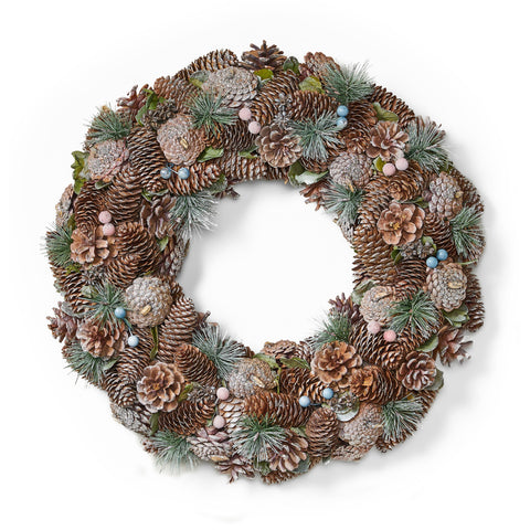 "18.5"" Pine Cone and Glitter Unlit Artificial Christmas Wreath - NH566313"