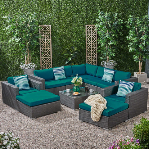 Outdoor 7 Seater Wicker Sectional Sofa Set with Sunbrella Cushions - NH125803