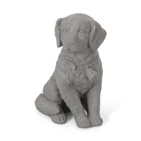 Outdoor Dog Garden Statue, Stone Gray - NH063413