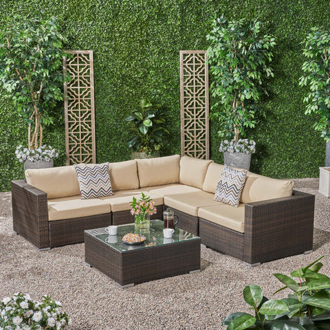 Outdoor 5 Seater Wicker Sectional Sofa Set with Sunbrella Cushions - NH894803