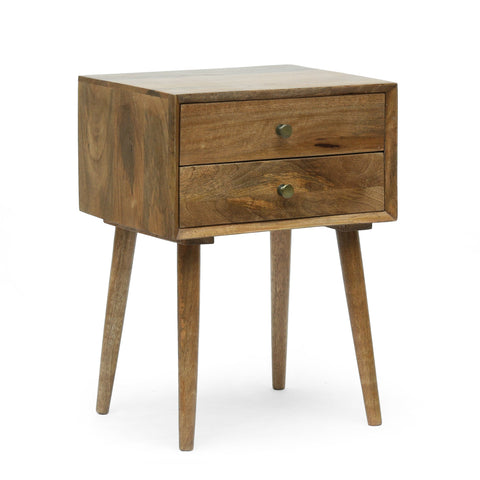 Mid-Century Modern Handcrafted Mango Wood Side Table, Natural - NH433413