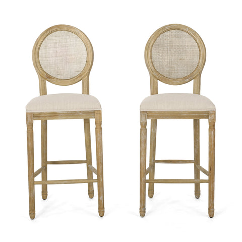 French Country Wooden Barstools with Upholstered Seating (Set of 2) - NH545313