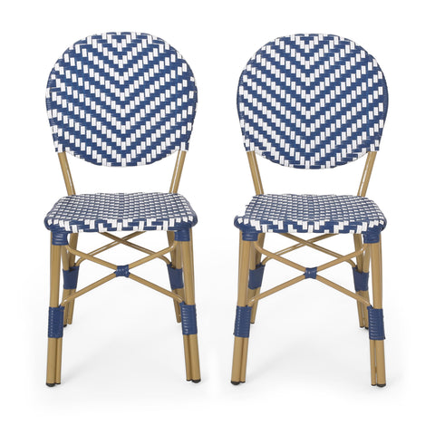 Outdoor Aluminum French Bistro Chairs, Set of 2, Navy Blue, White, and Bamboo Finish - NH044413