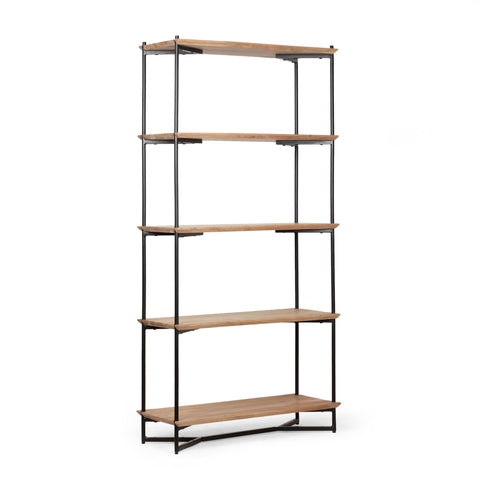 Handcrafted Modern Industrial 5 Shelf Acacia Wood Etagere Bookcase - NH795313