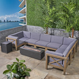 Outdoor Farmhouse Acacia Wood 8 Seater U-Shaped Sectional Sofa Set with Fire Pit - NH757603
