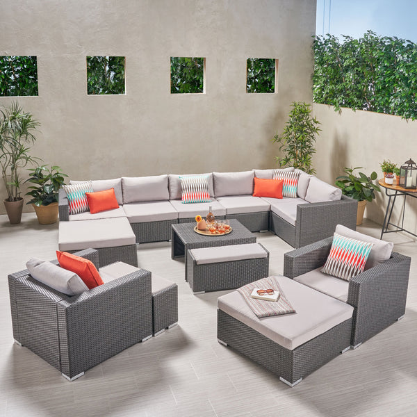 Outdoor 8 Seater V Shaped Wicker Sectional Sofa Chat Set with Ottomans - NH779903