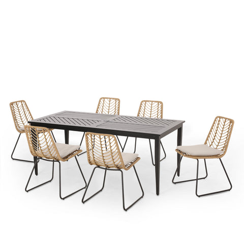 Outdoor 7 Piece Dining Set with Wicker Seating - NH310413