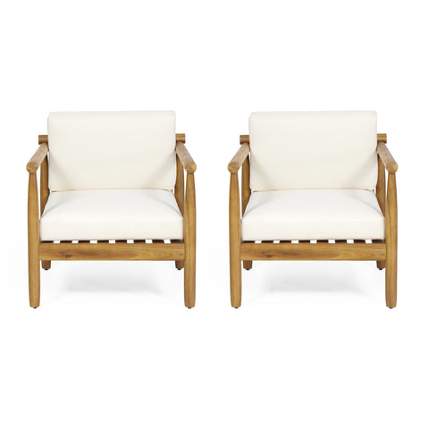 Outdoor Acacia Wood Club Chair (Set of 2) - NH768313