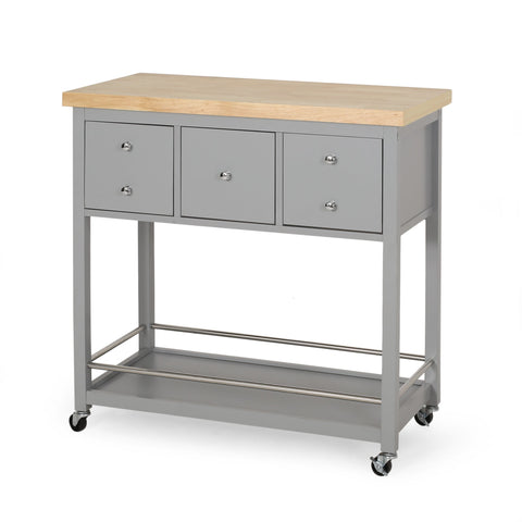 Contemporary Storage Kitchen Cart with Wheels - NH993413