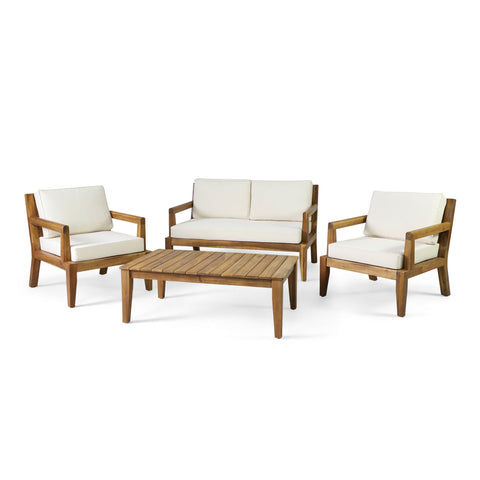 Outdoor Acacia Wood Chat Set, Teak and Beige - NH392413