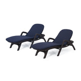Outdoor Faux Wicker Chaise Lounges with Cushion (Set of 2) - NH222313
