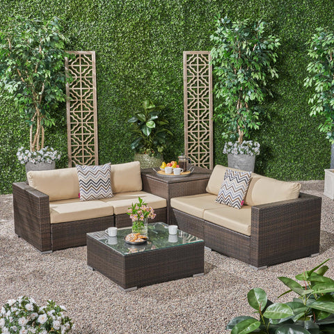 Outdoor 4 Seater Wicker Sofa Set with Storage Ottoman and Sunbrella Cushions - NH415803