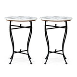 Handcrafted Boho Marble Mosaic End Table (Set of 2) - NH506313