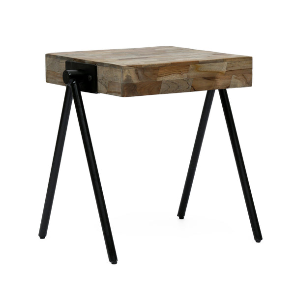 Handcrafted Modern Industrial Mango Wood Side Table - NH216313