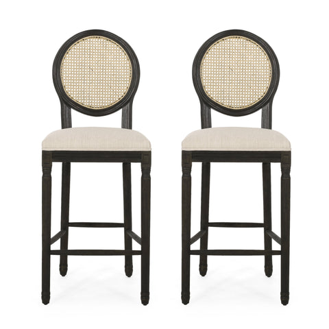 French Country Wooden Barstools with Upholstered Seating (Set of 2) - NH345313