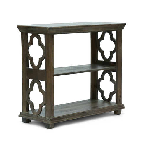 Traditional Handcrafted 2 Shelf Mango Wood Etagere Bookcase, Gray - NH624413