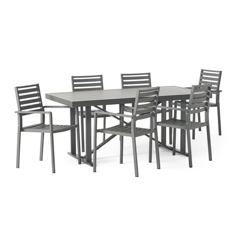 Outdoor Modern Industrial Aluminum 7 Piece Dining Set - NH505313