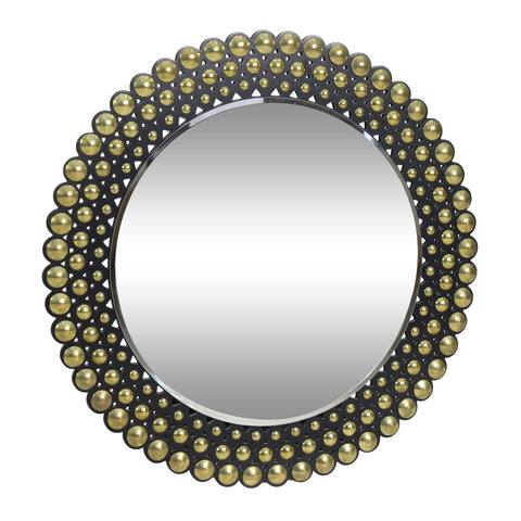 Contemporary Studded Round Wall Mirror - NH794313