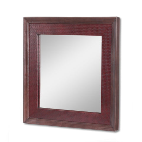 Handcrafted Boho Leather Square Wall Mirror - NH980413