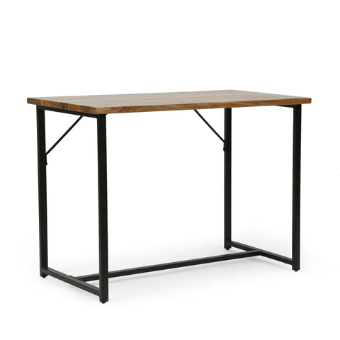 Modern Industrial Handcrafted Mango Wood Desk, Honey Brown and Black - NH564413