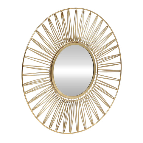 Modern Glam Handcrafted Round Sun Wall Mirror, Gold - NH484413