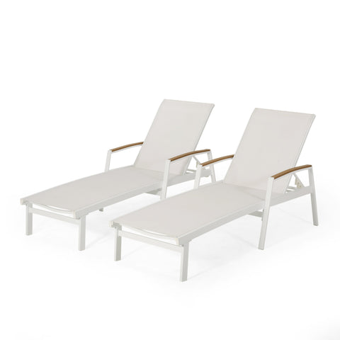 Outdoor Aluminum Chaise Lounge with Mesh Seating (Set of 2) - NH425313