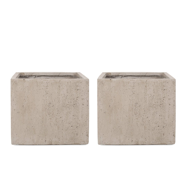 Outdoor Modern Cast Stone Square Planters (Set of 2) - NH223313