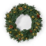"24"" Mixed Pine Pre-Lit Warm White LED Artificial Christmas Wreath with Pine Cones - NH335313"