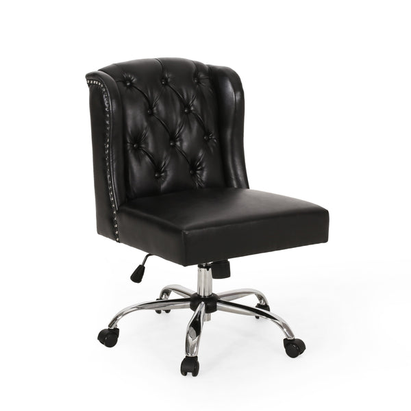 Contemporary Wingback Tufted Swivel Office Chair - NH931313