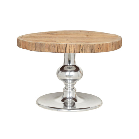 Handcrafted Rustic Glam Coffee Table with Raw Wood Tabletop - NH155313