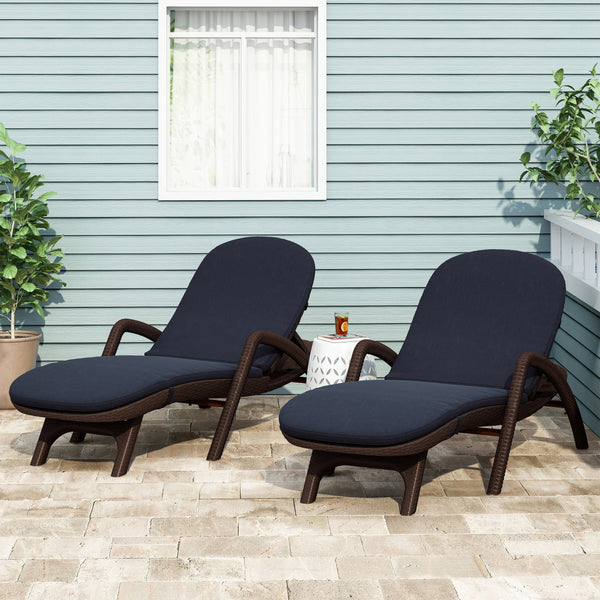 Outdoor Water Resistant Chaise Lounge Cushions (Set of 2) - NH612313