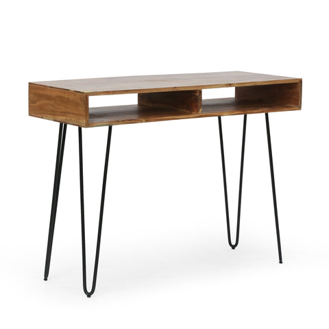 Modern Industrial Handcrafted Acacia Wood Storage Desk with Hairpin Legs - NH242413
